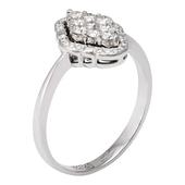 Кольцо с 9 бриллиантами весом 0.33 карата, 20 бриллиантами весом 0.08 карата из белого золота 750 пробы