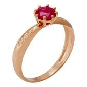 Кольцо с 1 сапфиром весом 0.49 карата, 2 бриллиантами весом 0.01 карата, 4 бриллиантами весом 0.01 карата из красного золота 585 пробы